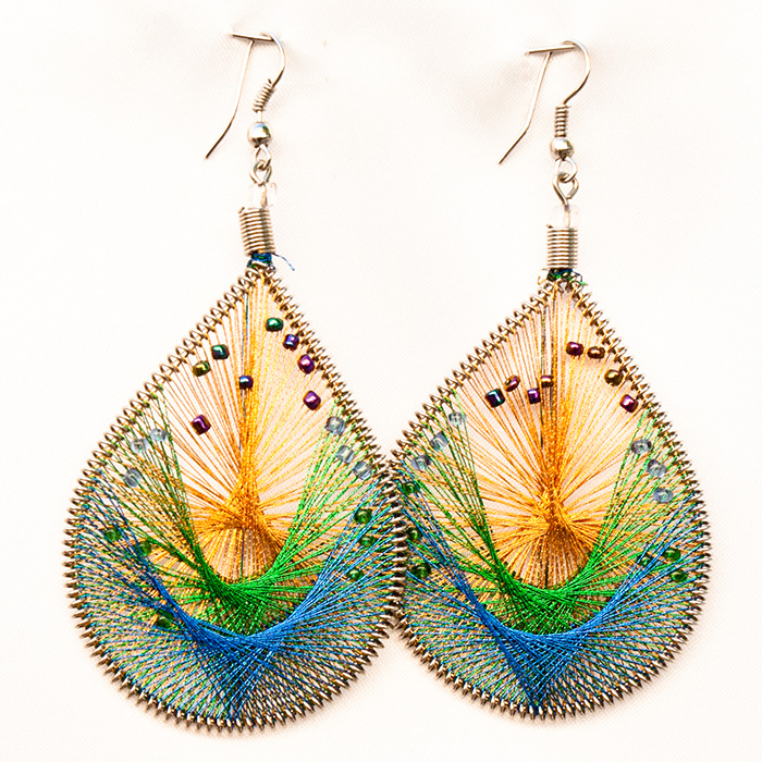 12 Wholesale Thread Earrings with Mostacilla Beads