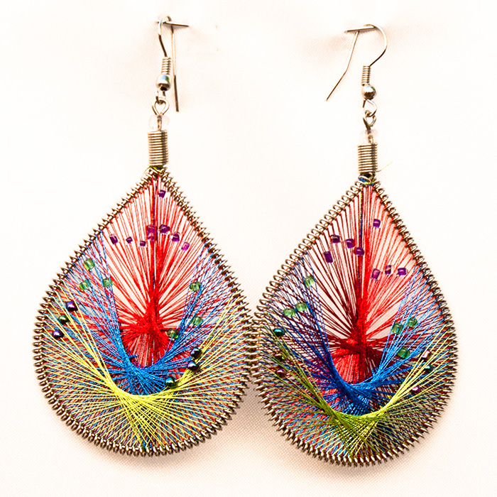 24 Wholesale Thread Earrings with Mostacilla Beads