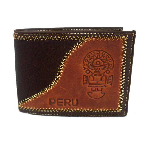 Pretty Peruvian Wallet Handmade Leather TUMI Carved Image
