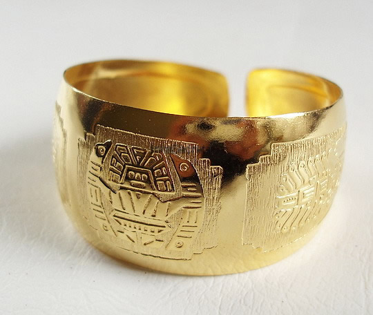 06 Nice Peru Gold Plated Embossed Cuff Bracelets Inca Designs