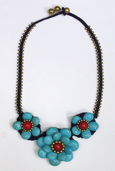Chokers made of Chinese Turquoise Stone and Coral Stone (13)