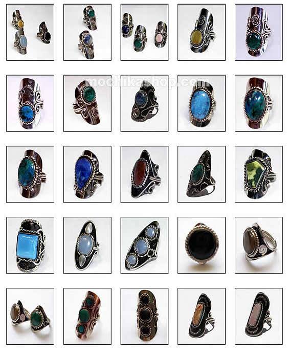 6 Peruvian Stone Earrings