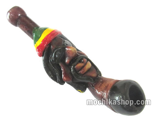 06 Rasta Smoking Pipes Handcrafted Duropox Bob Marley Image-Small Size