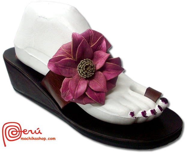 Beautiful Peruvian Andean Leather Sandals Side Flower Model 03
