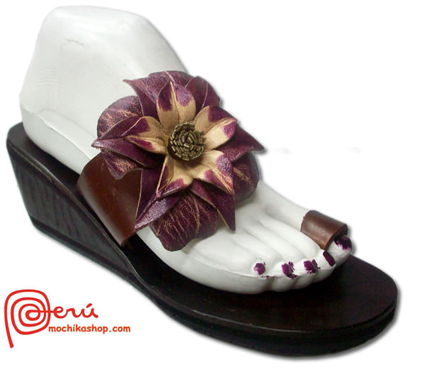 Cute Peruvian Andean Leather Sandals Side Flower Model 06